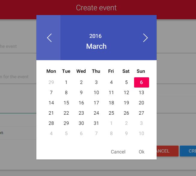 Material Design Vue js Date Picker Component - Vue js Script