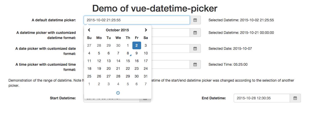 Vue js Date & Time Picker Component - Vue js Script