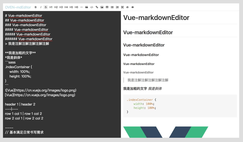 Markdown Text Editor For Vue js - vue-mdEditor - Vue js Script
