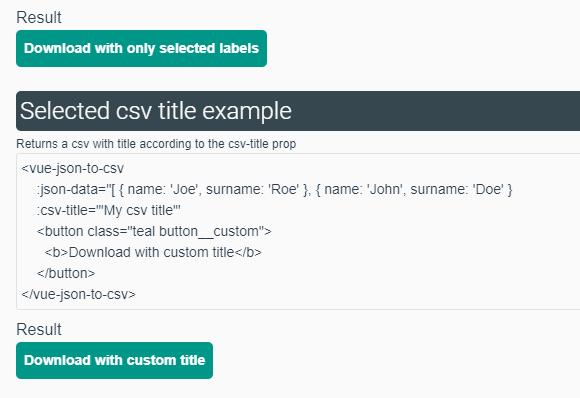 JSON To CSV Converter For Vue - Vue js Script