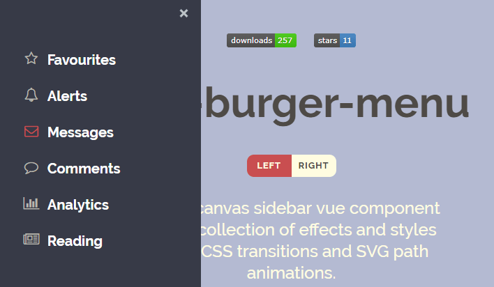 Off-canvas Burger Menu For Vue - Vue js Script