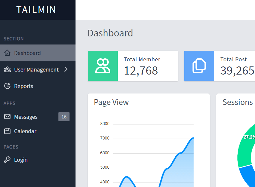 Admin Dashboard With Vue.js And Tailwind